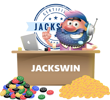 Jack behind desk woyh chips and coins